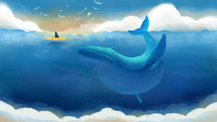 Original hand-painted illustration blue sky and white clouds cure deep sea whale, Deep Sea Whale, Whale, Blue Sky And White Clouds llustration image