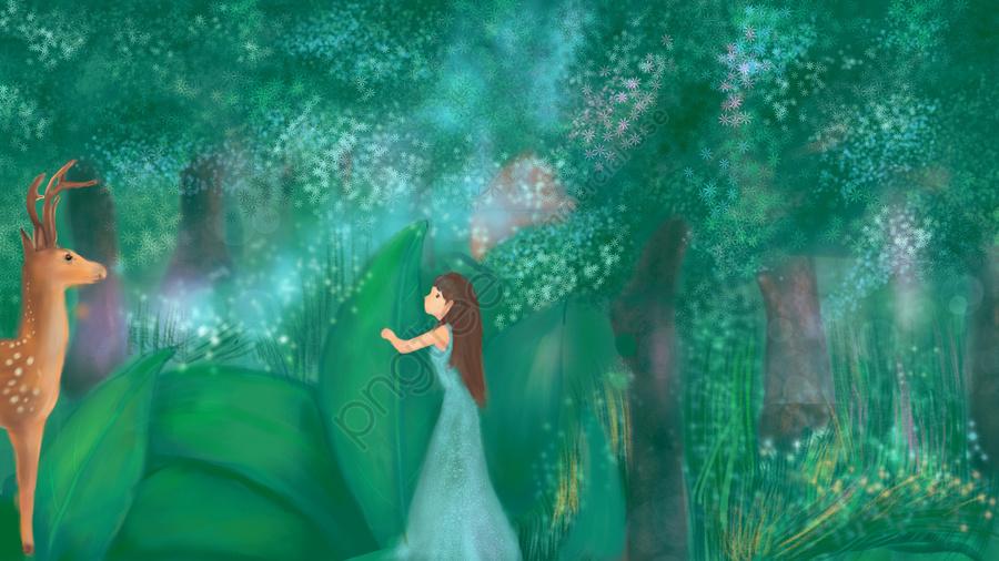 The original illustration of healing system, Deer, Deep Forest, Grassland llustration image