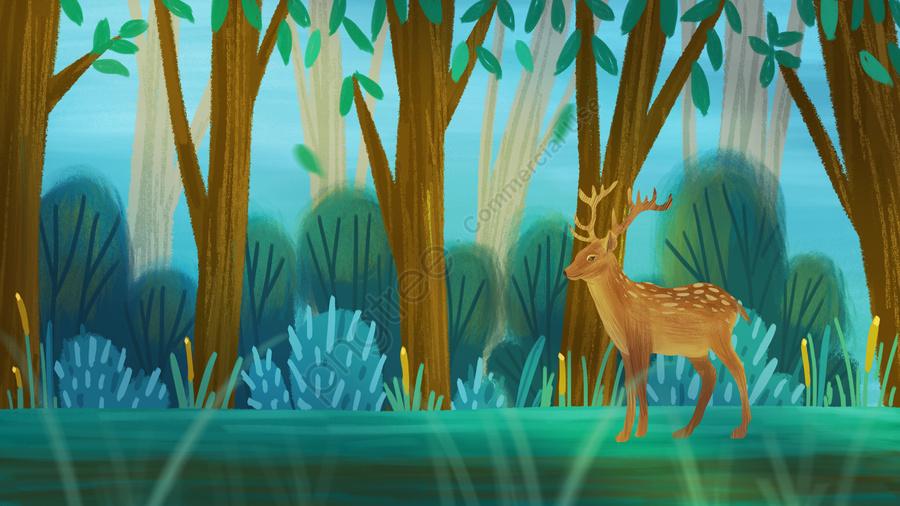 आकर्षक हीलिंग वन हिरण हाथ निकालके चित्रण, जंगल, हिरण, एल्क llustration image