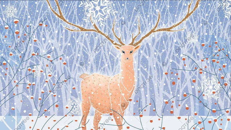 Simple And Refreshing Forest Deep See Deer Illustrator In Winter Snow Scene, Deer, Lin Shenjian Deer, Winter llustration image