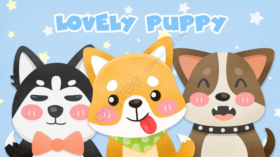 Dễ Thương Gió Minh Họa Con Chó, Chó, Cún Con, Phim Hoạt Hình llustration image