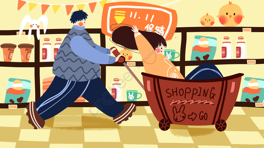 Double eleven couple shopping spree illustration, Double Eleven, Shopping, Couple llustration image