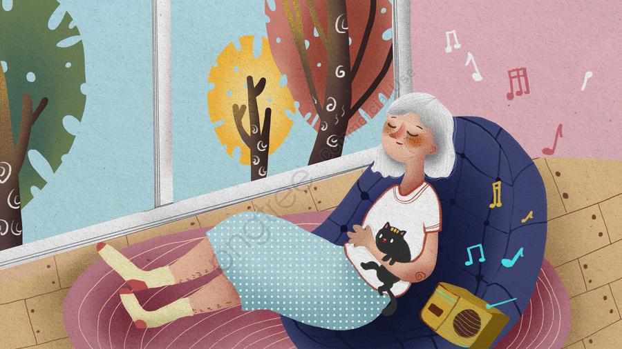 一人で自宅で音楽動物イラストを楽しんでいるchongyang祭りの高齢者, ダブルナインスフェスティバル, 老人, 親切に llustration image