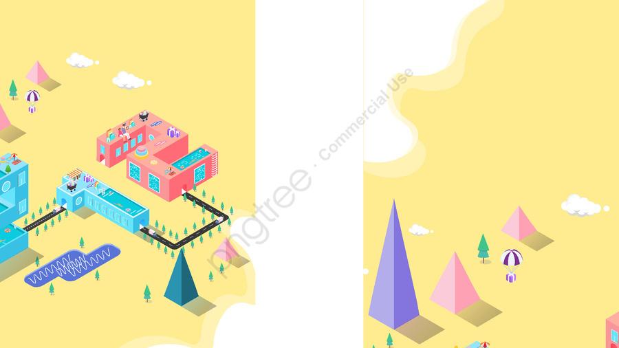 小さな新鮮な黄色の二重12 2 5 Dイラスト, ダブル12, プール, 道 llustration image