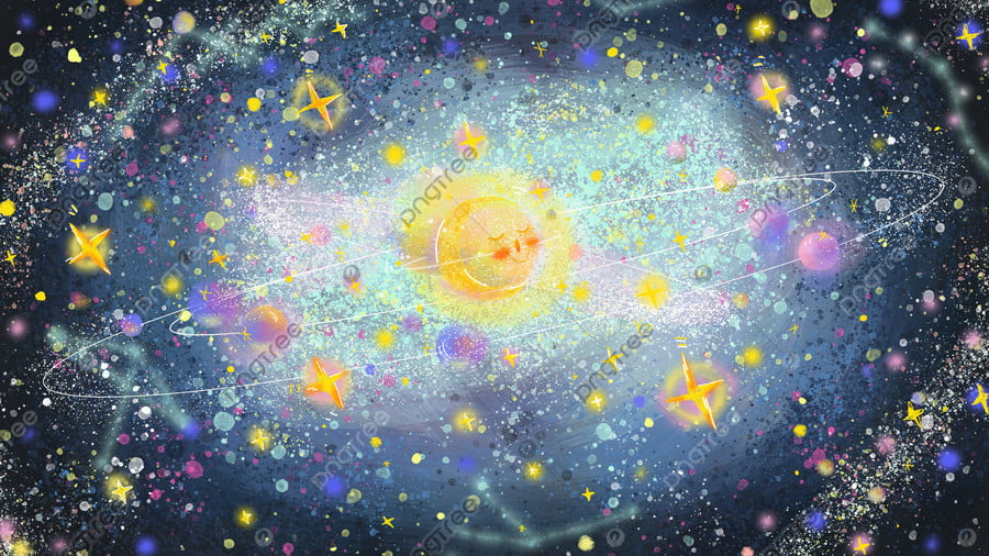 Fantasy Starry Glittering Cosmic Galaxy Graffiti, Dream, Starry Sky, Universe llustration image