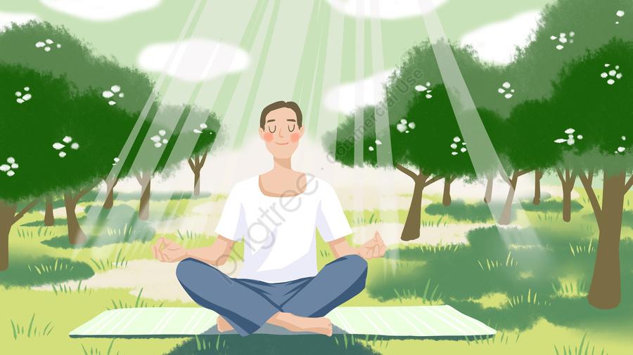Những Người Hít Thở Không Khí Trong Lành Dưới ánh Mặt Trời Vào Buổi Sáng Của Good Morning World, Sáng Sớm, Ánh Sáng Mặt Trời, Hơi Thở llustration image