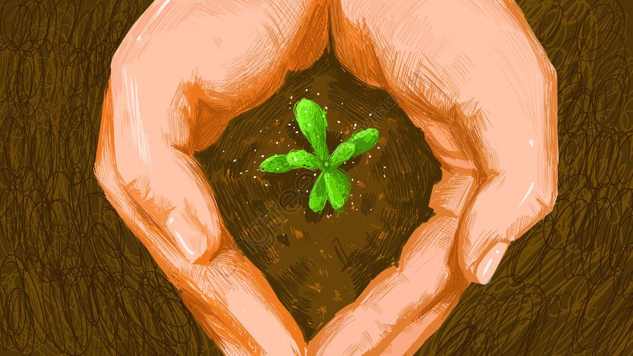 Earth Clean Day Hand Hold Bud Protection Green Minh Họa Poster Với Hình ảnh, Ngày Làm Sạch Trái đất, Tay, Nắm Tay llustration image