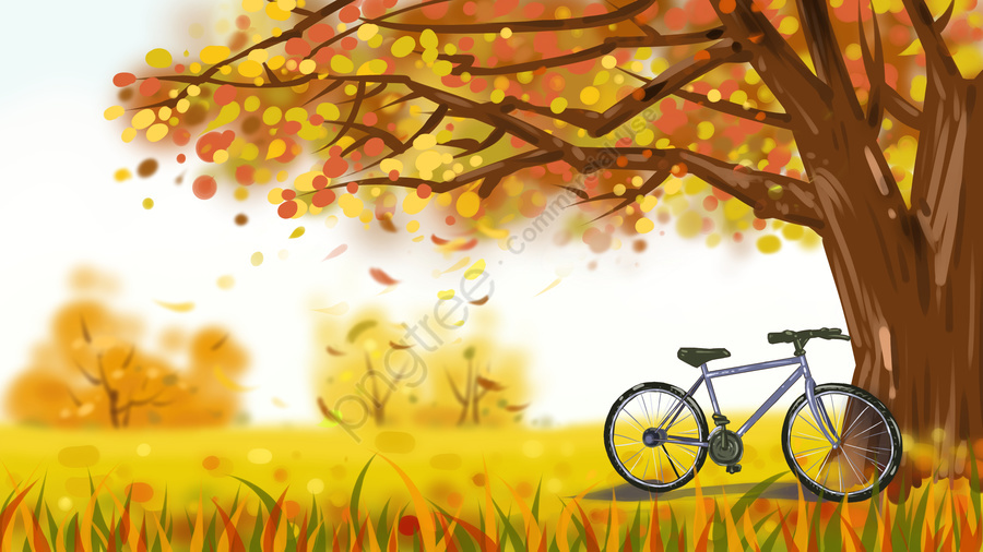 Original illustration of big tree with bicycle in autumn, Fall, Big Tree, Bicycle llustration image