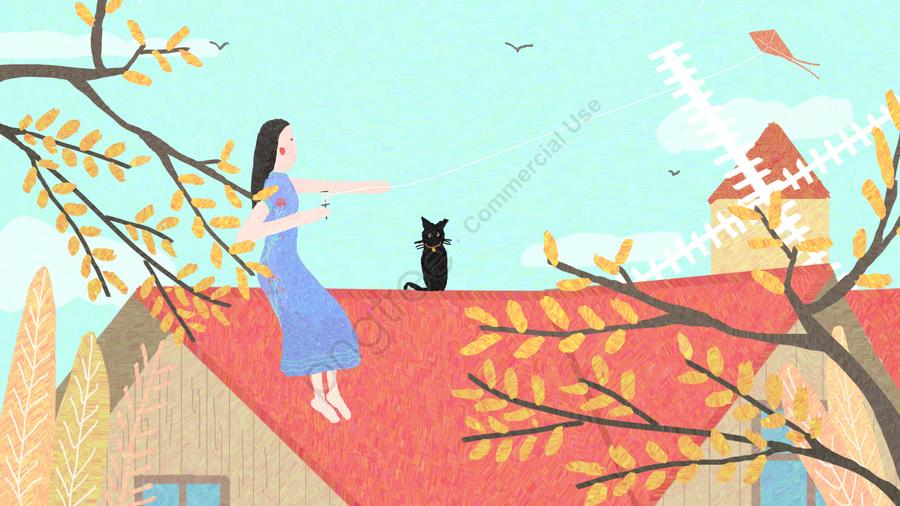 Autumn Hello Bumbung Layang Asli Ilustrasi Musim Luruh Hello Salam Gambar Ilustrasi Pada Pngtree Royalti Percuma
