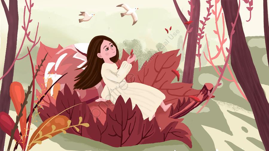 아름다운 신선한 가을 안녕하세요 소녀 일러스트 디자인을 즐길 수, 가, 메이플 리프, 이 슬 llustration image