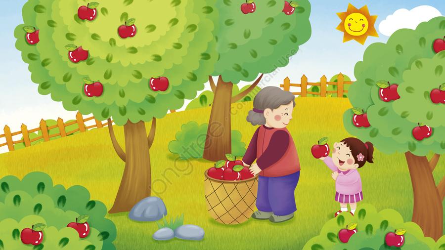 秋の風景収穫おばあちゃんがリンゴの新鮮なイラストを選ぶのを助ける, あき, 収穫, おばあちゃん llustration image