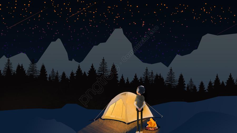 Dream Starry Camp, Фэнтези звездное небо, кемпинг, поле llustration image