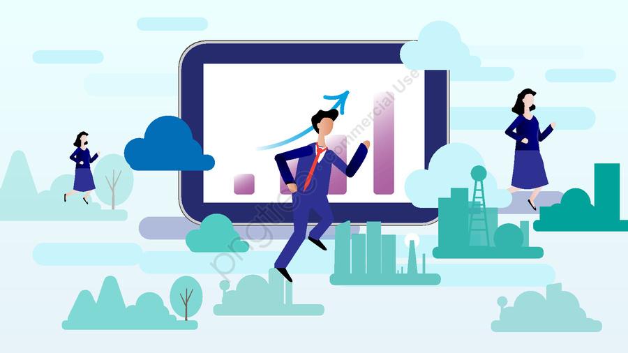 Financial Illustration Flat Blockchain Cloud Life, Financial