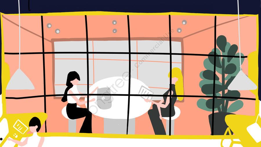 オリジナルフラットウィンド事業所事業交渉, フラット風, 事業所, 商談 llustration image