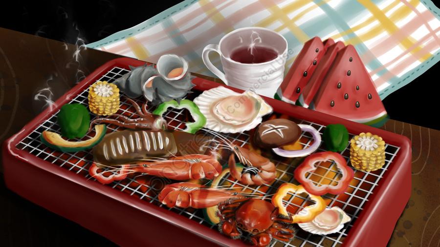 おいしいおいしいピクニック、夜の軽食、バーベキュー、串焼き、フルーツ、エビ、カニ、ホタテ, 食べ物, 美味しい, ピクニック llustration image