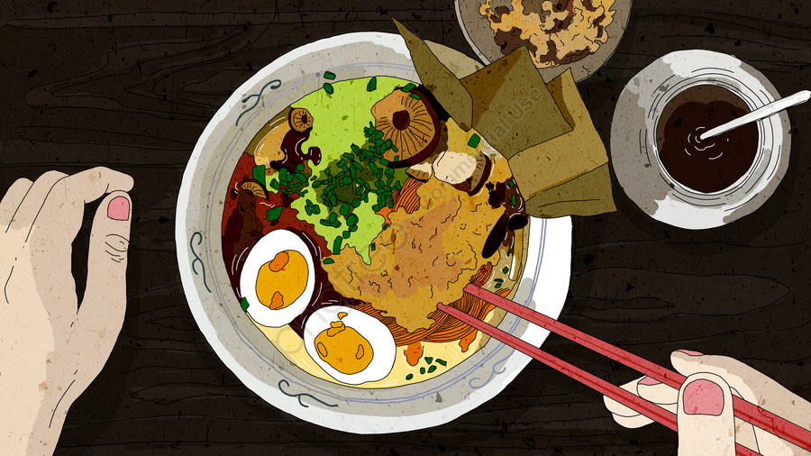 Original Food Is A Refreshing Illustration Of The Late Night Canteen Delicious Ramen, Food, Mid Night Canteen, Delicious llustration image
