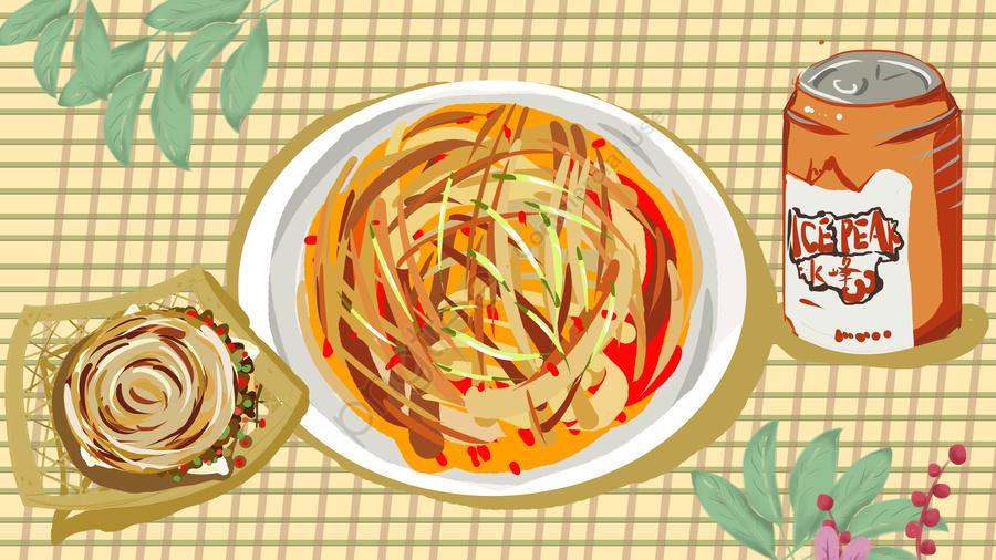 Xian Food Noodle Skin Illustration, Food, Xian, Illustration llustration image
