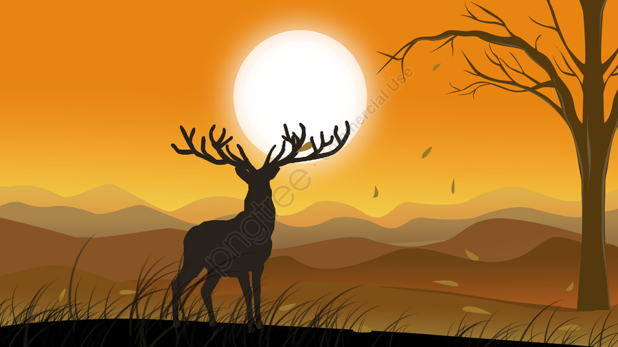 Forest with deer hand drawn illustration, Forest And Deer, Sunset, Yellow llustration image