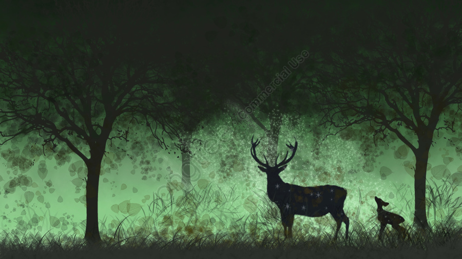 Hand painted healing deer strolling in the forest, Forest, Deer, Fallen Leaves llustration image