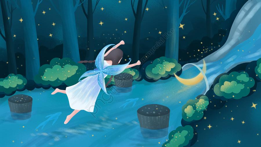 , 夜の夜, 女の子, 手絵イラスト llustration image