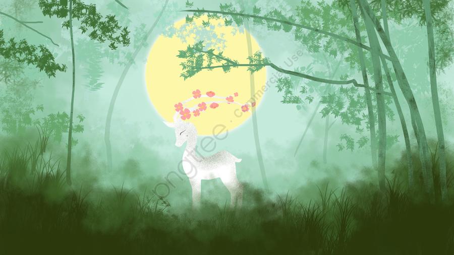 Original healing system illustration forest deep see deer, Forest, Moon, Deer llustration image