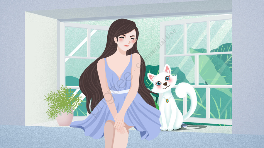 Fresh And Beautiful Cute Pet Girl Cat Illustration Fresh And Beautiful Pet Illustration Beautiful Girl And Cat Illustration Cute Pet Illustration Illustration Image On Pngtree Free Download On Pngtree