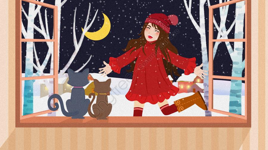 신선한 눈이 현장 안녕 겨울 소녀 그림, 신선한 눈이 일러스트, 눈이 오는 소녀 그림, 안녕하세요 겨울 llustration image