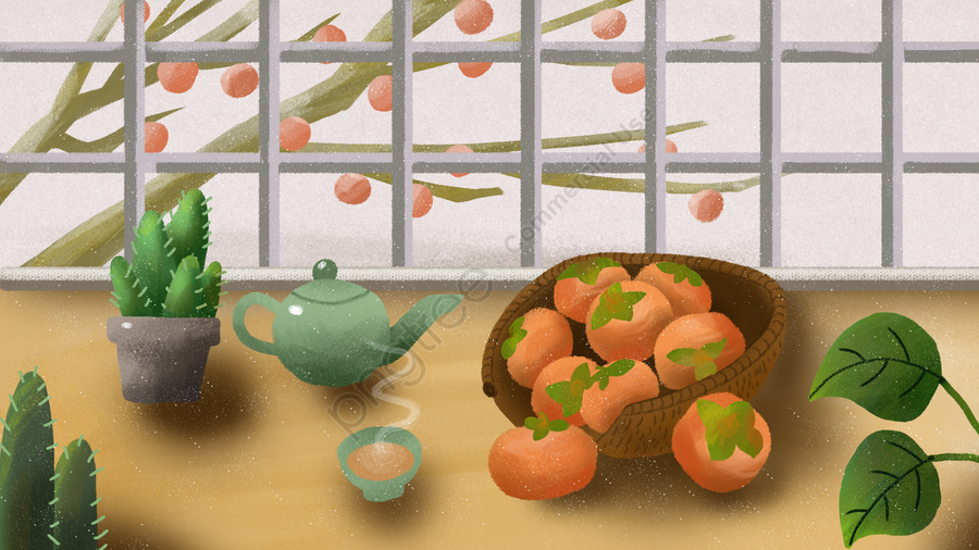 Persimmons and tea on the table in front of window twenty-fourth smog, フロストドロップ, ソーラー用語, 冬 llustration image