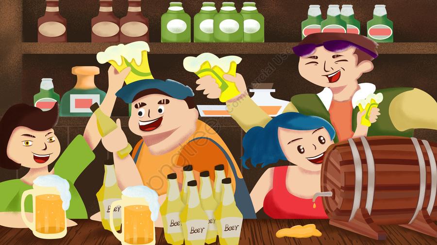 Cartoon Friends Gather For Oktoberfest Illustration Image On Pngtree