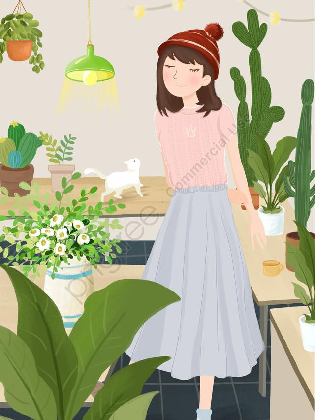 Selamat Pagi Hello Gadis Bunga Ilustrasi Asal, Gadis, Kucing, Rumah Bunga llustration image