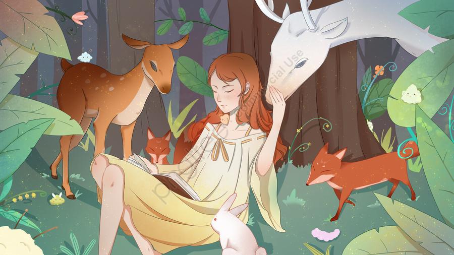 꿈꾸는 소녀와 동물의 친구, 소녀, 사슴, 폭스 llustration image