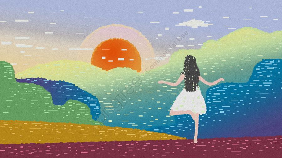 Hình Minh Họa Gốc Good Morning World Retro Pixel, Cô Gái, Retro, Pixel llustration image