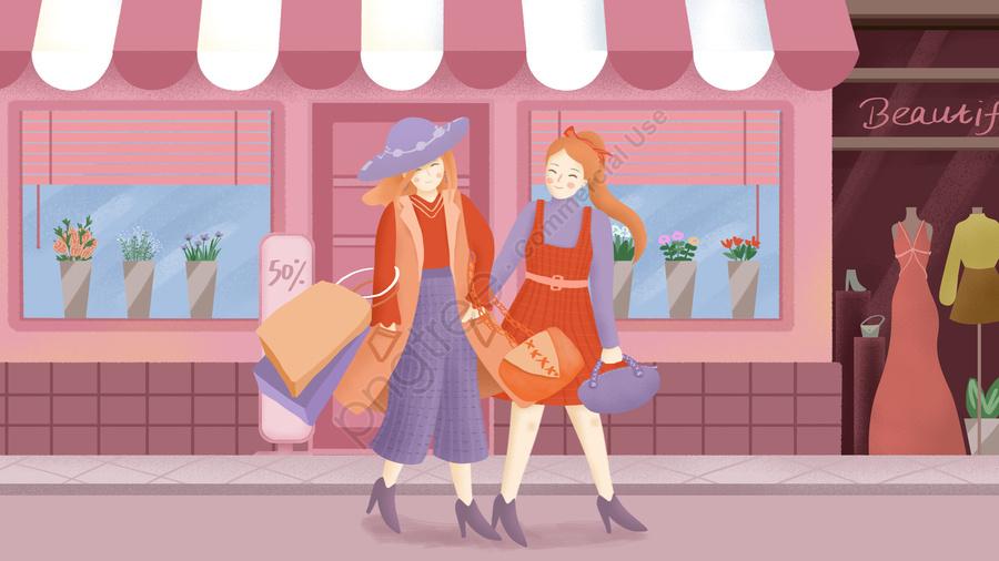 日常生活のための買い物のオリジナル手描きイラスト, 彼女, 少女, 姉妹 llustration image