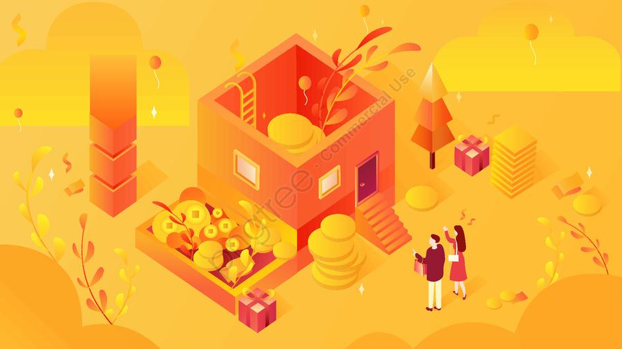 2.5d autumn season financial event promotion vector illustration, Tiền Vàng, Nhân Vật, Cảnh llustration image