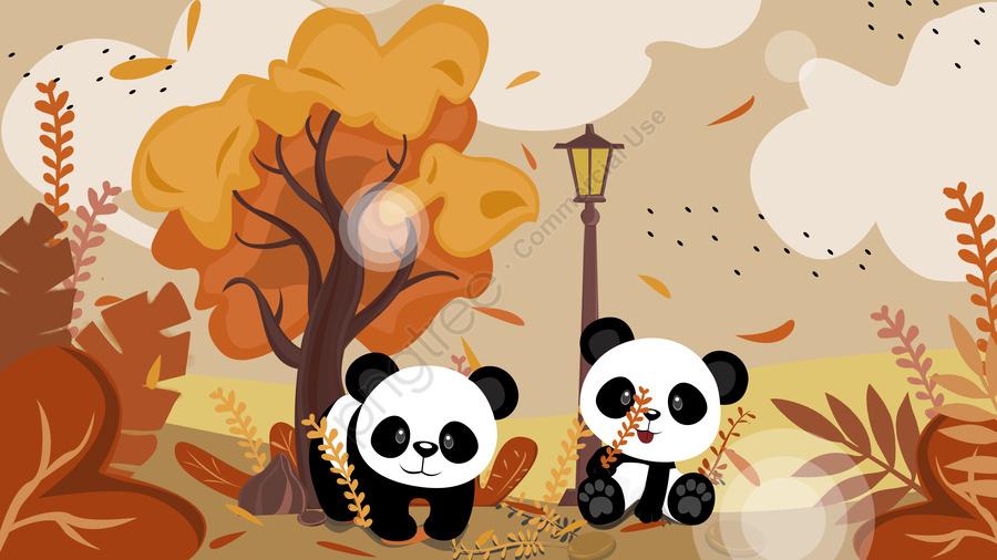 Hallo Guten Morgen Zwei Pandas Von Hand Bemalt Guten Morgen