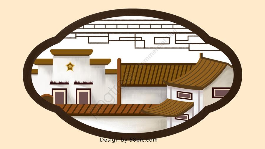 Guten Morgen Hallo Alte Stadt Chinesische Art Illustration
