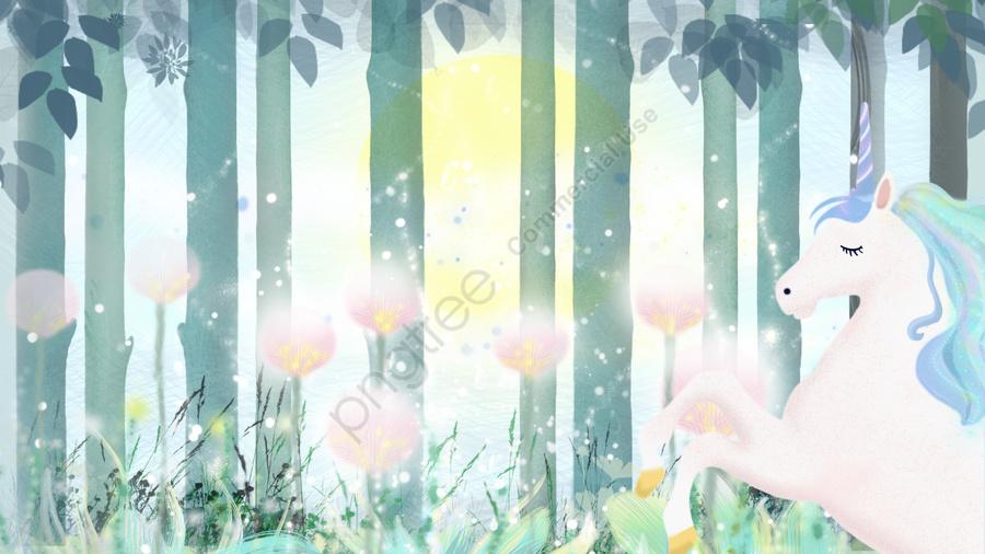 おはよう世界の森のユニコーン, おはようございます, 森, 花 llustration image
