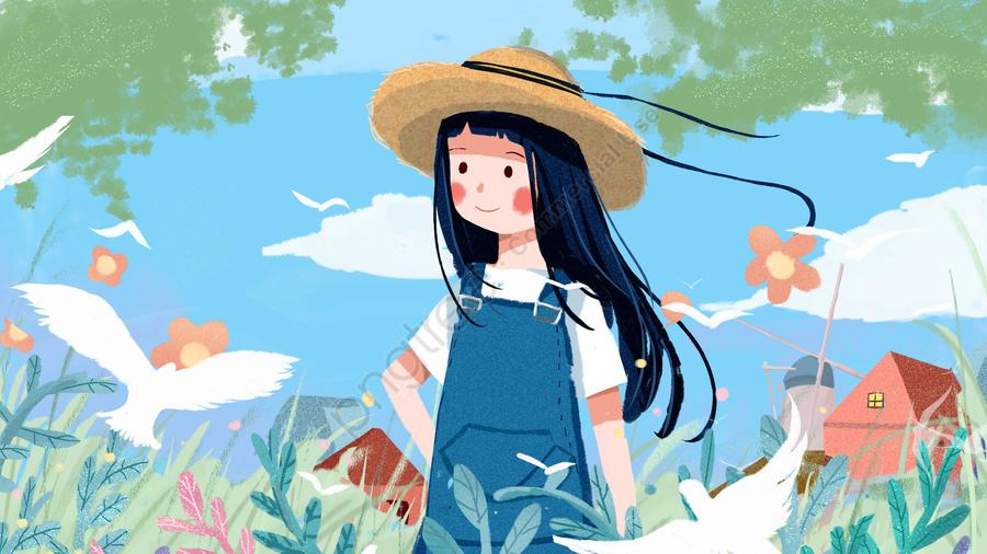 좋은 아침 아침의 소녀 작고 신선하고 사랑스러운 치료법 일러스트, 안녕하세요., 좋은 아침, 좋은 아침. llustration image