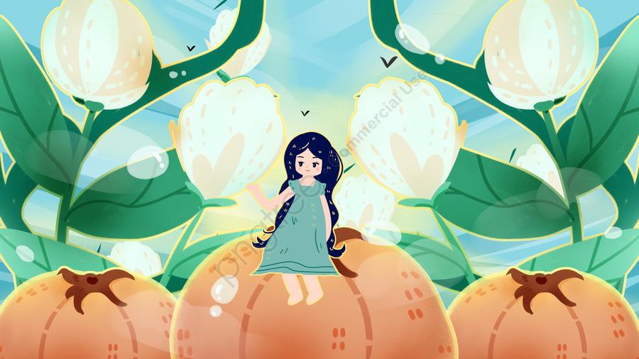 Am Frühen Morgen Guten Herbst Pflücken Baumwolle Kaki Fee