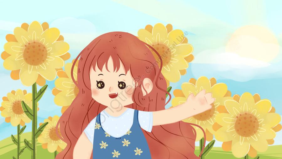 おはようこんにちはひまわりの庭小さな新鮮な女の子子供イラストポスター, おはようございます, こんにちは, ひまわり llustration image