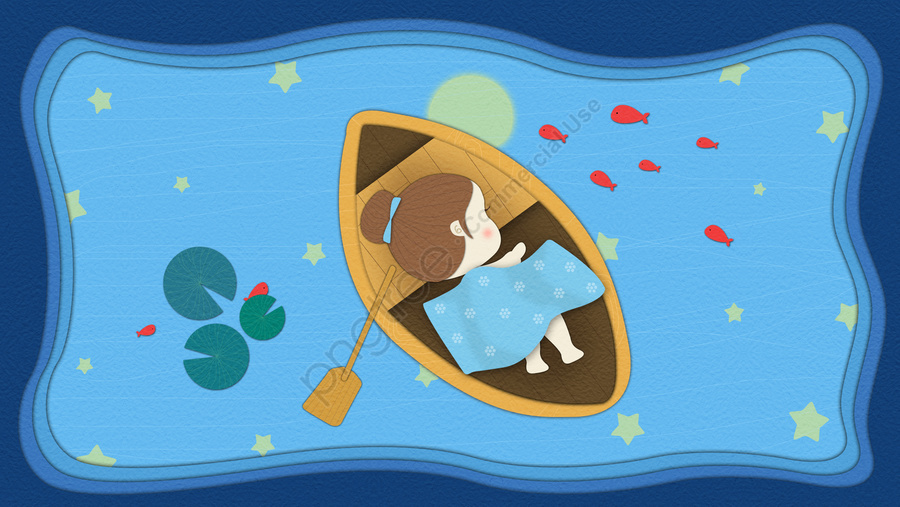 Good Night Hello Mobile Phone Picture Paper Cut Ocean Lake Boat Sleeping Little Girl, Good Night, Hello, Mobile Phone With Picture llustration image