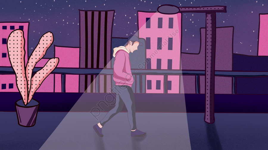 Good Night Hello Young Man Walking Under The Lights At Midnight City, Good Night, Hello There, Day Sign llustration image
