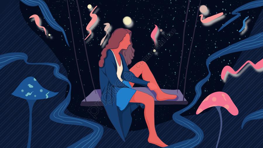 おやすみ、こんにちは、星の下で揺れる少女、手描きのポスターイラスト, おやすみなさい, こんにちは, 写真付き携帯電話 llustration image