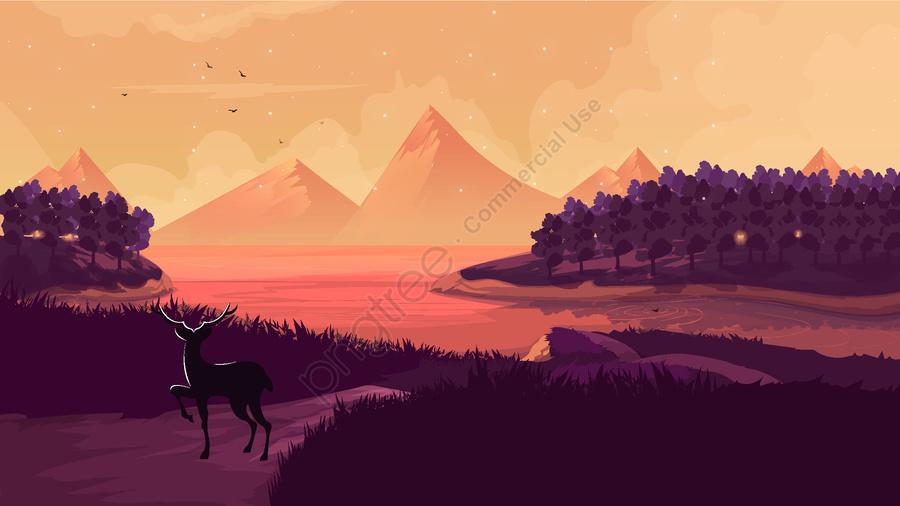 ليلة سعيدة مرحبا العالم الغاب, ليلة سعيدة ، الغابة ، الأيائل ، الجبل ، مفهوم الفني ، سطح البحيرة llustration image