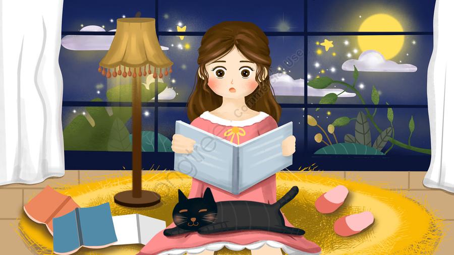 अच्छी रात की चांदनी को देखने के लिए किताब लड़की, पुस्तक, बादल, महिला llustration image