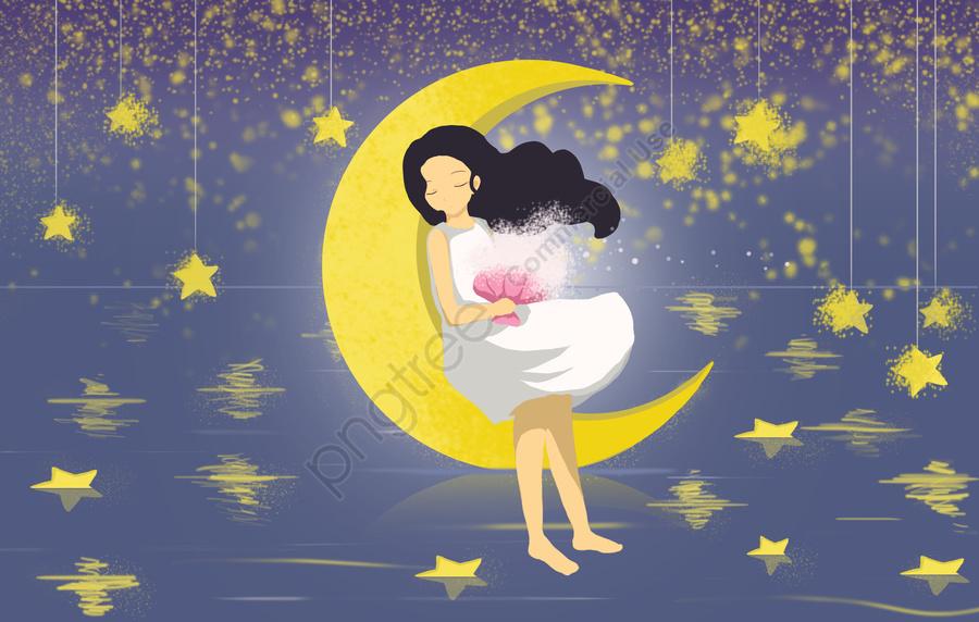 Buona Notte Ciao Mondo Tranquilla Ragazza Stella Sognando Luna