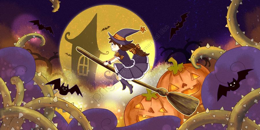 Halloween little witch and pumpkin, Halloween, Bat, Little Witch llustration image