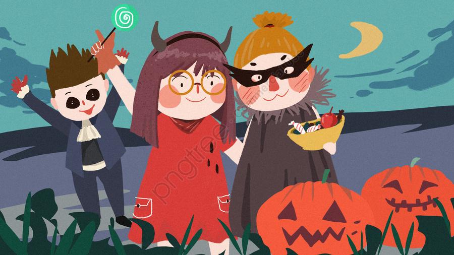 هالوين كرنفال ماكياج الليل مضحك للحلوى هدية لطيف رسمت باليد, هالوين, ليلة الكرنفال, ماكياج llustration image