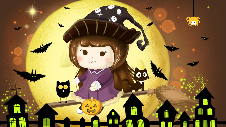 Cute little witch on halloween, Halloween, Little Girl, Little Witch llustration image