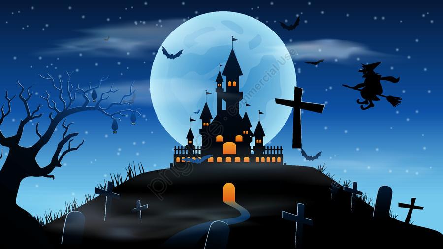 Halloween Carnival Night Castle, Halloween, Night, Castle llustration image